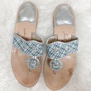 Jack Rogers Blue Plaid Women's Sandals- 9
